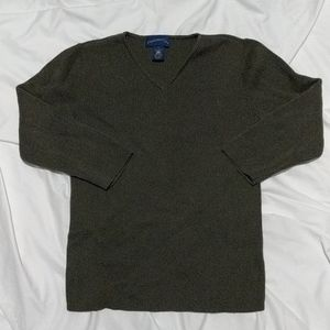 Charter Club 3/4 Sleeve Olive V Neck Sweater Small
